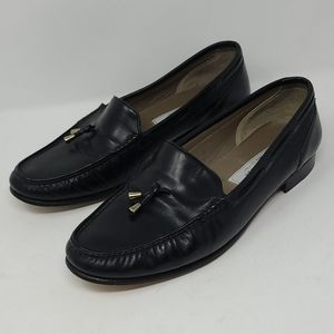 Bally Mens Tassel Leather Loafers Black Size 9M